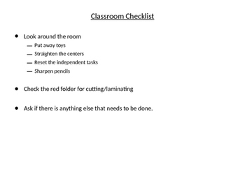 After School Checklist / To Do list for Teacher Aides and