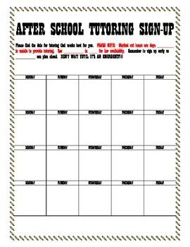 After School Tutoring Sign Up Sheet