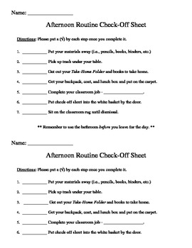Afternoon Check-Off Sheet