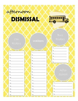 Afternoon Dismissal Page