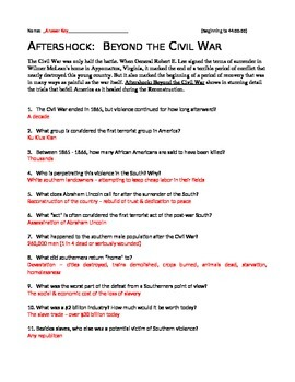 Aftershock: Beyond the Civil War Movie Guide ANSWER KEY