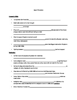 Age of Discovery & Exploration note packet