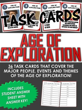 36 Task Cards for the Age of Exploration with Answer Sheet