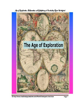 Age of Exploration, Colonization, Enlightenment Vocabulary