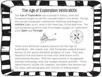 Age of Exploration, Explorers short reading