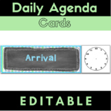 Agenda Schedule Cards {Editable} Chalkboard Theme