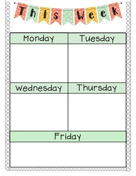 Agenda Monday through Friday- Great for writing homework o
