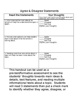 Agree & Disagree Statements for Informational Texts