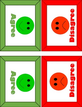 Agree - Disagree Student table tents - Red/green - happy/sad face