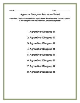Agree or Disagree Response Sheet