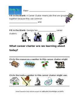 Agriculture Career Cluster Worksheet