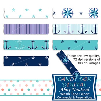 Ahoy Nautical Washi Tape Clip Art - Commercial Use OK