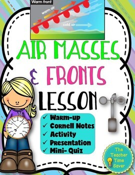 Air Masses and Fronts Lesson (Presentation, Notes, and Act