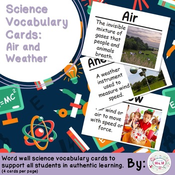 Air and Weather Science Vocabulary Cards (FOSS Air and Wea