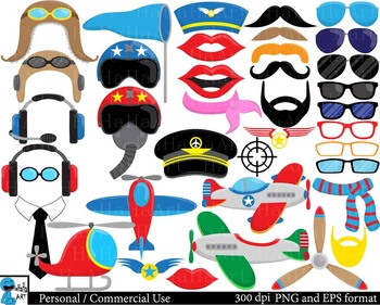 Airplanes and Pilots Props ClipArt Personal, Commercial Us