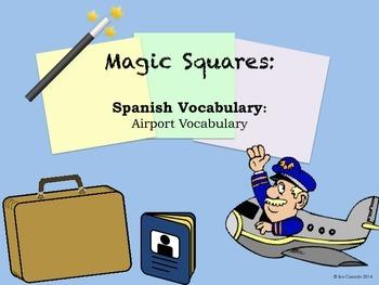 Airport Vocabulary (Spanish) Magic Squares Puzzle Activity