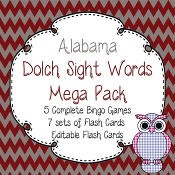 Alabama Dolch Sight Words Mega Pack-Flash Cards and Bingo-