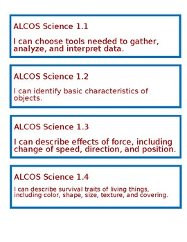 "Alabama ""I Can"" Statements for Science - First Grade"