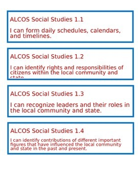 """Alabama """"I Can"""" Statements for Social Studies - First Grade"""