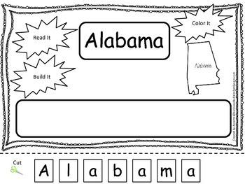 Alabama Read it, Build it, Color it Learn the States presc