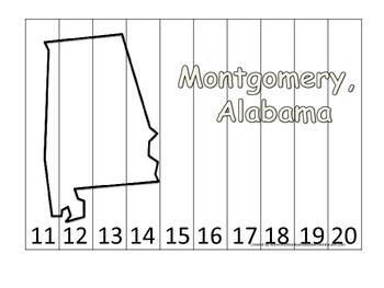 Alabama State Capital Number Sequence Puzzle 11-20.  Geogr