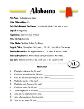 Alabama State Information & Worksheet