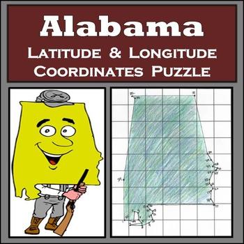 Alabama State Latitude and Longitude Coordinates Puzzle -