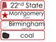 Alabama State Word Wall Bulletin Board Set. Geography Curriculum.