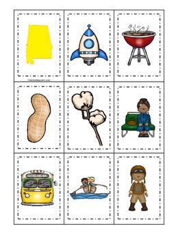 Alabama themed Memory Matching and Word Matching preschool