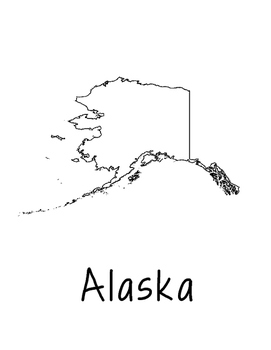 Alaska Map Coloring Page Activity - Lots of Room for Note-