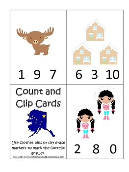 Alaska themed Count and Clip preschool math cards.  Daycar