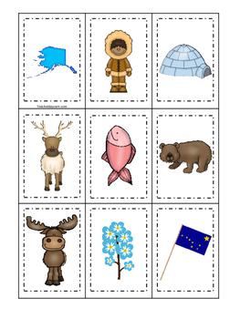 Alaska themed Memory Matching and Word Matching preschool