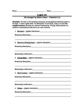 Albert Camus' The Stranger--Character List Worksheet