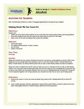 Alcohol Teacher's Guide (Pre-K to Grade 2)