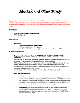 Alcohol, Tobacco and Other Drug Curriculum for Middle Scho