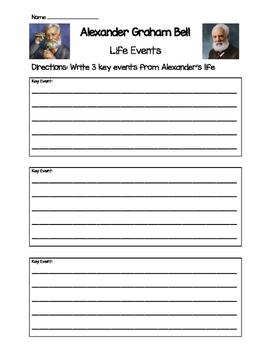 Alexander Graham Bell Life Events Worksheet