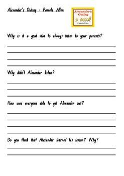 Alexander's Outing -Pamela Allen - Comprehension Worksheets
