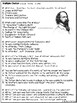 Alfred Tennyson Biography Reading Comprehension Worksheet;