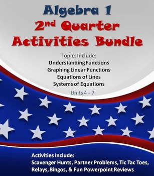 Alg 1 -- 2nd Quarter Fun Reviews & Activities Bundle