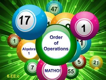 Alg 1 -- Order of Operations BINGO