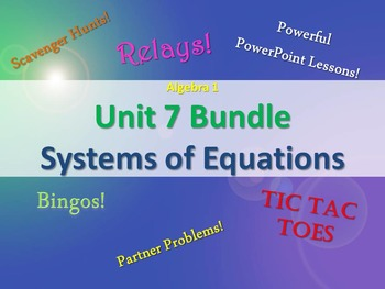 Alg 1 -- Unit 7: Solving Systems of Equations Bundle -- Le