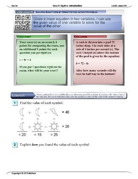 Algebra 1 (2.10): Solving Equations by Substituting Given