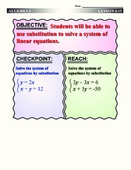 Algebra 1 (4.05) DRAFT: Substituting to Solve a System of