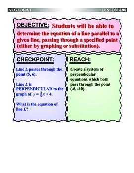 Algebra 1 (4.08) DRAFT: Equation of a Parallel Line Throug