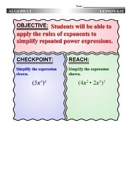 Algebra 1 (6.02) DRAFT: Power of Powers