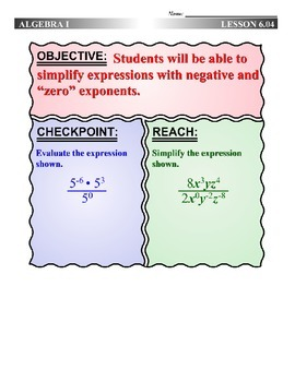 Algebra 1 (6.04) DRAFT: Zero and Negative Powers