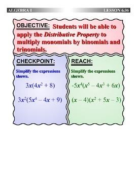 Algebra 1 (6.06) DRAFT: The Distributive Property with Pol