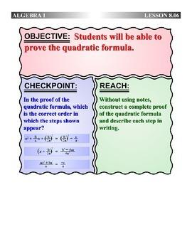 Algebra 1 (8.06) DRAFT: Proof of the Quadratic Formula