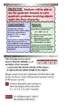 Algebra 1 (9.08) DRAFT: Solving Quadratic Motion Problems