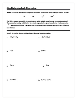 Algebra 1/Algebra 2 Tutorial: Simplifying Algebraic Expressions